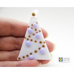 Fused glass christmas tree decoration, white tree, violet purple baubles, xmas dec