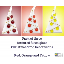 Pack of 3 Fused glass Christmas tree decorations, White Tree, red orange yellow, christmas gift, xmas tree, red christmas decoration gift