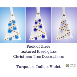 Set of three Christmas tree decoration, white tree decoration with turquoise, indigo, violet, blue purple