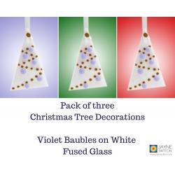 set of three fused glass christmas tree decorations, violet, purple, xmas decs