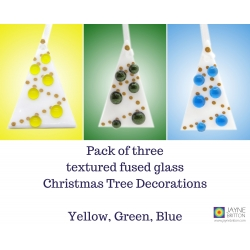 Pack of 3 Fused glass Christmas tree decorations, White Tree, yellow green blue, christmas gift, xmas tree, red christmas decoration gift