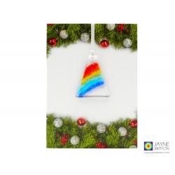 Christmas card with gift, rainbow christmas tree decoration