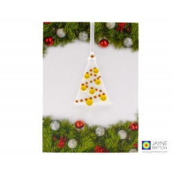 Christmas card with gift, yellow and white fused glass tree decoration