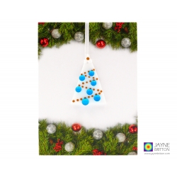 Christmas card with gift, blue and white fused glass tree decoration