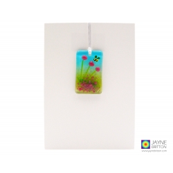 Greeting card with gift, fused glass pink flowers and bee light catcher