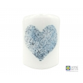 blue and white heart, Bubbly heart sconce, curved fused glass candle screen