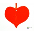 Orange heart light catcher, handmade fused glass heart