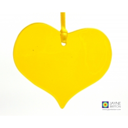yellow heart, fused glass, light catcher, tree decoration