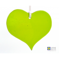 green fused glass heart shaped light catcher, tree decoration
