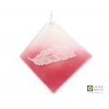 Pink and white angel feather light catcher, handmade fused glass, handpainted
