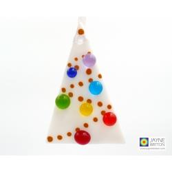 Rainbow Christmas tree decoration, fused glass, White Tree, rainbow baubles, christmas gift, xmas tree, red christmas decoration gift