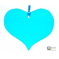 Turquoise blue heart fused glass light catcher, window decoration, christmas tree decoration