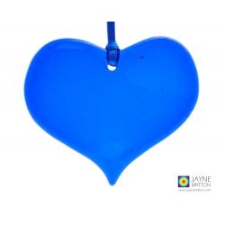 Indigo blue heart light catcher, window decoration, tree decoration