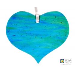 blue green fused glass heart light catcher, unique ocean blend with bubbles
