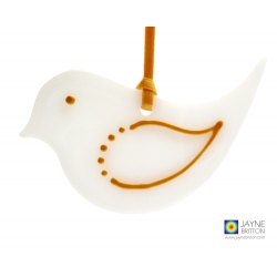 White and gold bird christmas tree decoration