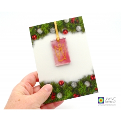 Christmas card with gift, pink angel tree decoration, guardian angel, archangel chamuel