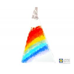 Rainbow fused glass christmas tree decoration