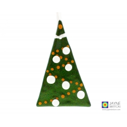 Sparkly green fused glass christmas tree decoration, white snowball baubles