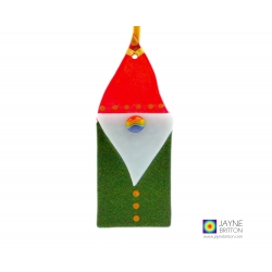 Fused glass christmas tree decoration, Gnorman Gnome in sparkly red and green, rainbow bauble nose
