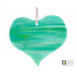Misty green abstract, fused glass heart light catcher, heart shaped, hanging decoration, sun catcher, window art, tree decoration, ocean