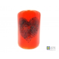 Bubbly heart sconce, orange, natural tealight candle, candle holder