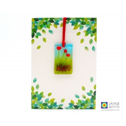 Greeting card with gift - fused glass red poppies light catcher