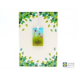 Greeting card with gift - fused glass light catcher with pink flowers