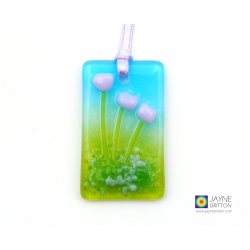 Mini fused glass light catcher with violet purple flowers