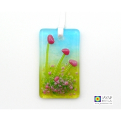 Mini fused glass light catcher with pink flowers
