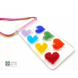 Rainbow hearts handmade fused glass light catcher