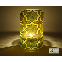 Breath of the Compassionate - sacred geometry pattern sconce - deep indigo blue on yellow orange blend
