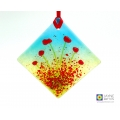 Poppies fused glass light catcher, diamond shaped, red flowers
