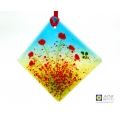 Fused glass poppies and bee light catcher, diamond shaped
