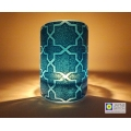 Breath of the Compassionate Geometric pattern sconce, curved fused glass panel, indigo blue on Egyptian blue, tealight candle holder, sacred geometry, Rub el Hizb gift