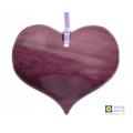Deep purple fused glass heart light catcher