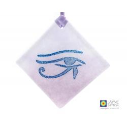 Eye of Horus fused glass light catcher, diamond shaped