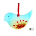 Fused glass poppy bird, blue green bird with red flowers, poppies