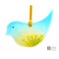 Fused glass bird, light catcher, blue green with yellow flowers, hanging decoration