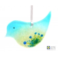 Fused glass bird light catcher, blue green with blue flowers