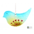 Fused glass bird light catcher, blue green with pink flowers