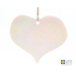 Heart shaped white iridescent heart light catcher