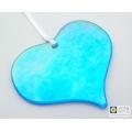 Heart shaped sparkling blue iridescent heart light catcher