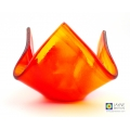 Red and orange tealight candle holder, abstract fused glass