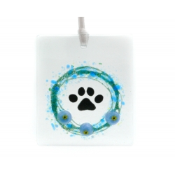 Forget me nots, handmade fused glass dog memorial, cat loss gift