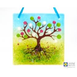 Fused glass light catcher, Tree of Life, spring blossom tree, pink, white, handmade