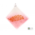 Copper gold feather on pink and white light catcher, handmade diamond shape fused glass
