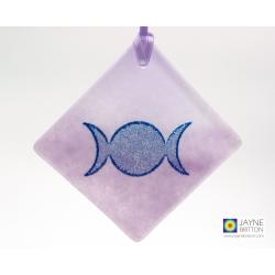 Triple moon goddess light catcher, celtic symbol, new moon, fully moon, handmade fused glass