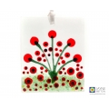 Hand painted abstract poppies, red flowers light catcher, fused glass, painted glass