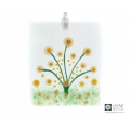 Abstract daisy glass painting, white garden flowers light catcher, hanging decoration, daisies sun catcher, uplifting gift, fused glass