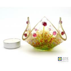 Purple murrini flowers trinket bowl, candle vase, handmade fused glass